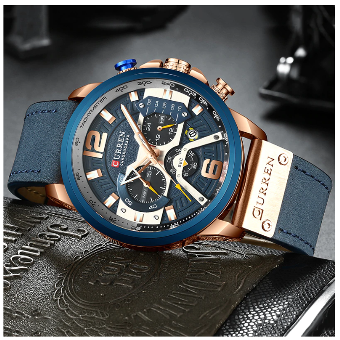 Montre Curren luxe pour homme, Bleu, standard, Limited