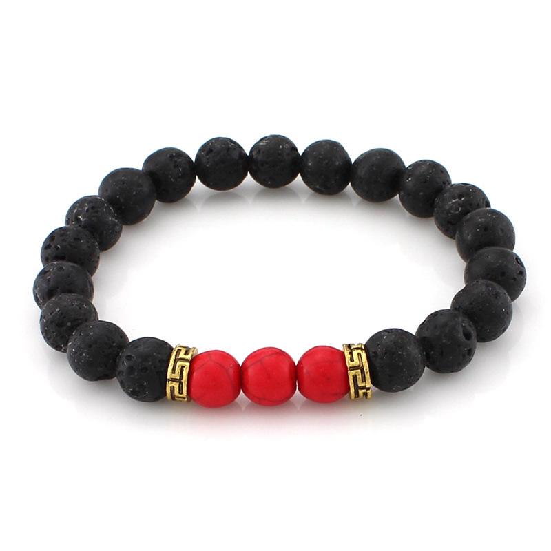 Bracelet hommes 8mm pierre de lave, Rouge