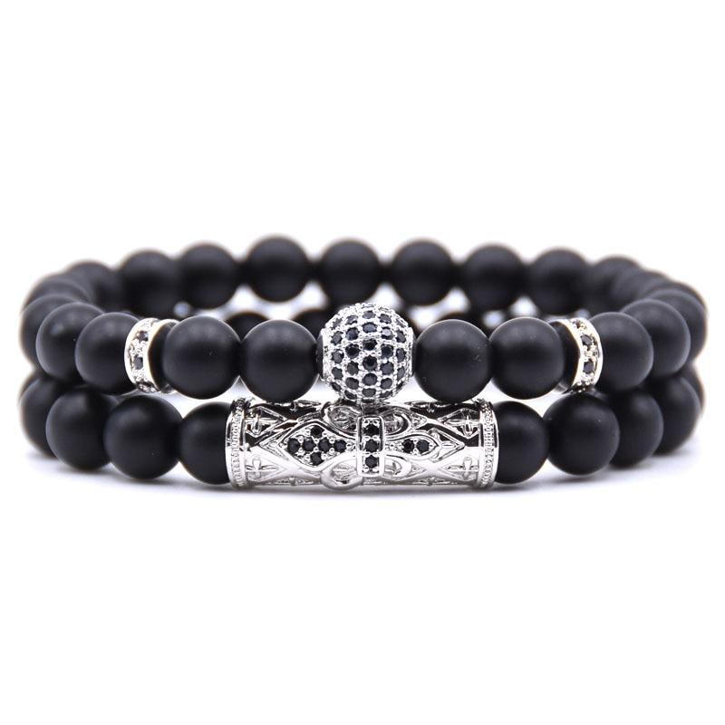 8mm couple boule ronde bracelet perles bracelet bijoux hommes, Argent