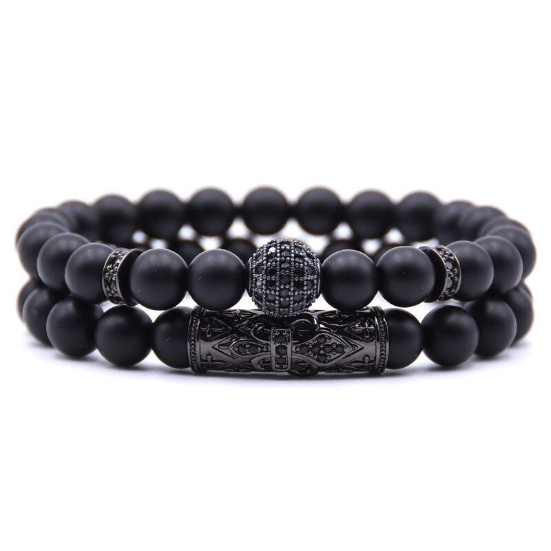 8mm couple boule ronde bracelet perles bracelet bijoux hommes, Gris sidéral