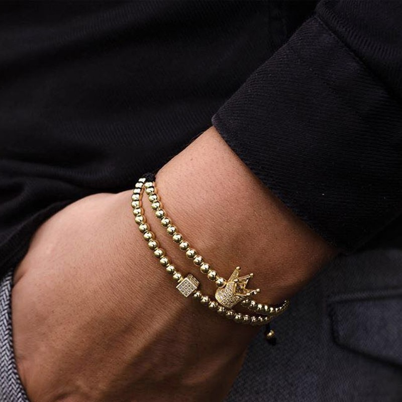 Couronne Cube réglable 4mm à la mode à la main armure perles breloque, Couronne, Noir