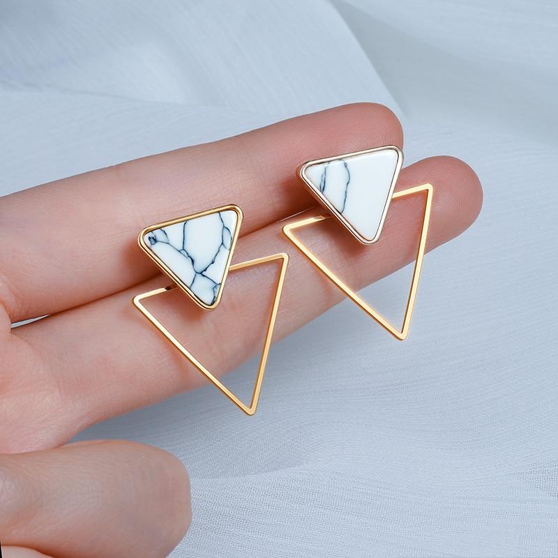Punk Design Triangle rond géométrique Faux pierre boucles d'oreilles pour les femmes Vintage acrylique boucles d'oreilles bijoux brincos, Triangle