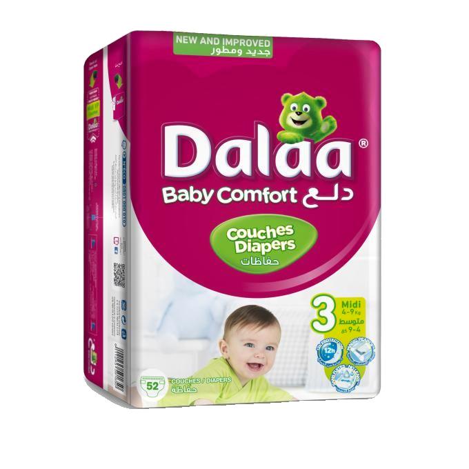 Dalaa Couches Bébé Taille 3 Midi, 52 unités