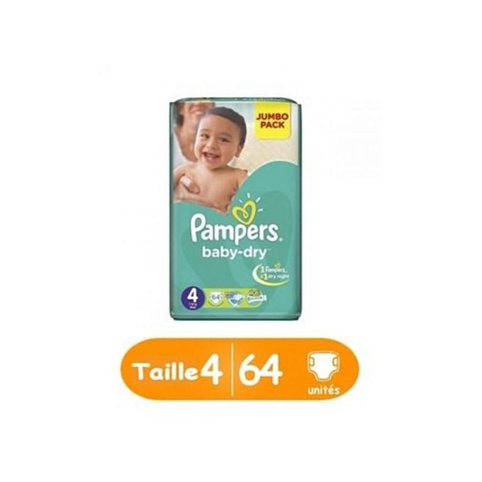 Pampers baby-dry taille 4, 64 unités