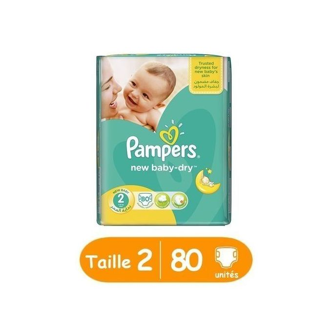 Pampers new baby-dry taille 2, 80 unités