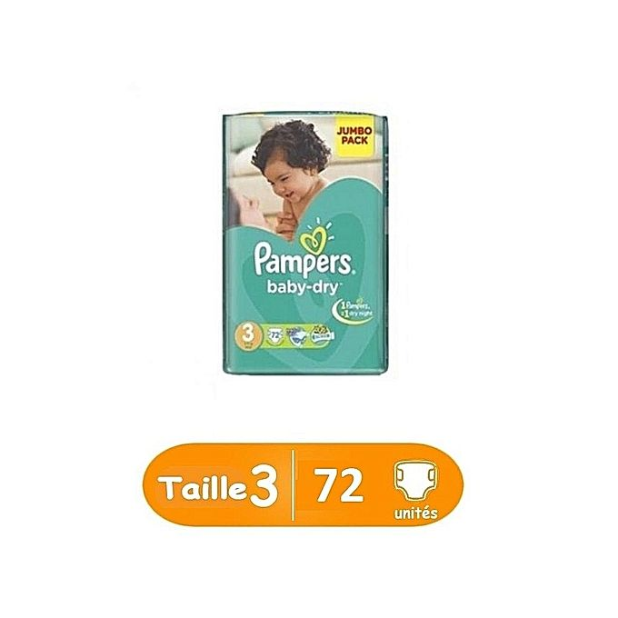 Pampers baby-dry taille 3, 72 unités