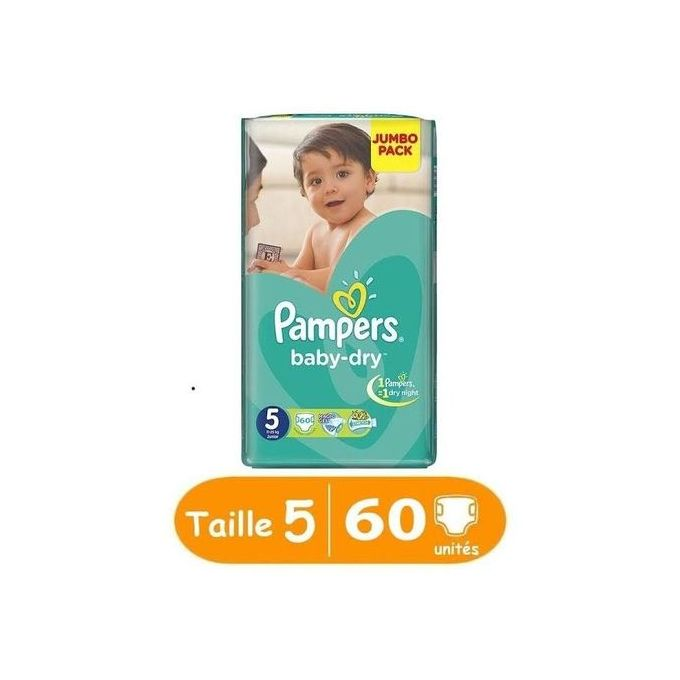 Pampers baby-dry taille 5, 60 unites