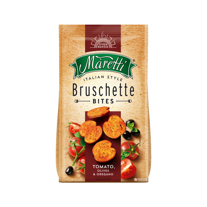 Bouchées de Pain Saveur Tomates Olives et Origan Bruschette Maretti 70g