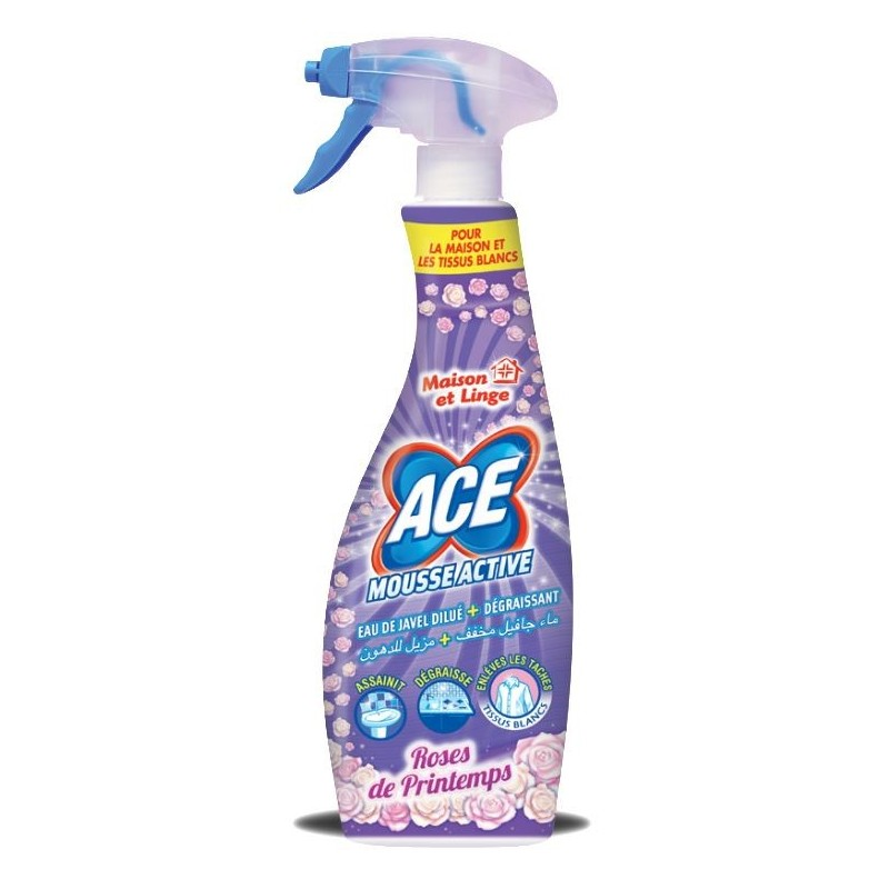 Spray Mousse Active Rose de Printemps eau de javel et dégraissant ACE 750ml