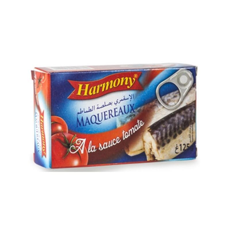 MAQUEREAUX ENTIER A LA SAUCE TOMATE HARMONY125G
