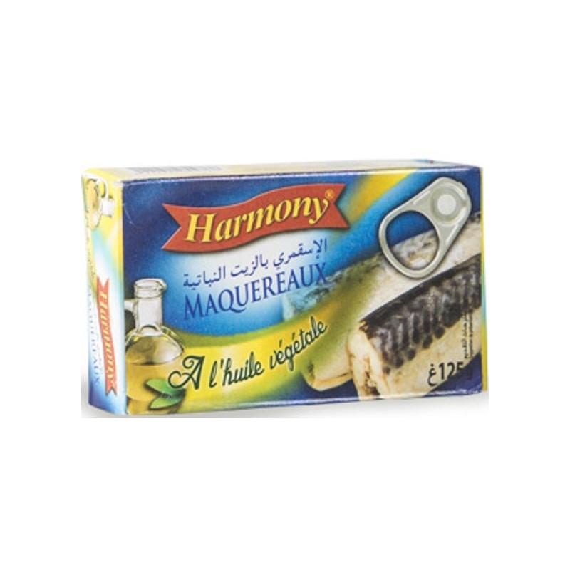 HARMONY MAQUEREAUX ENTIER A L'HUILE VEGETALE 125G