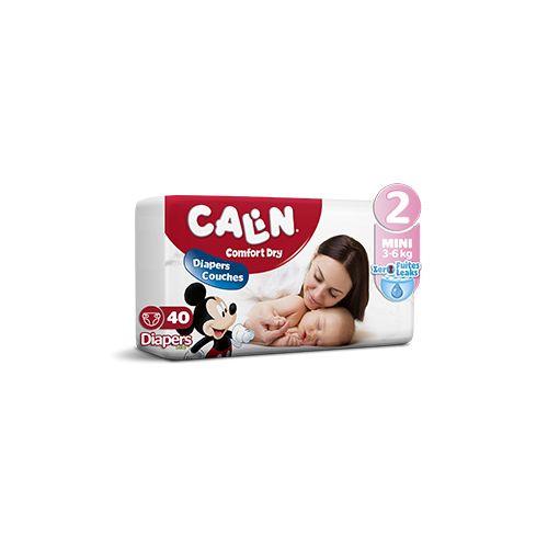 Calin Couches Bébés - Taille 2 Mini (3 à 6 KG) - 40 couches