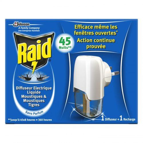 Raid Diffuseur Electrique Liquide anti-moustiques 45 nuits : Diffuseur + Recharge