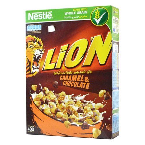 Nestle Lion céréales goût caramel et chocolat paquet de 400g