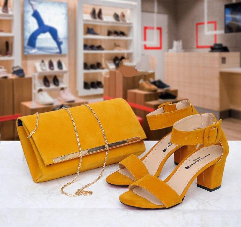 Set sac/sandale élégance, Moutarde, 40