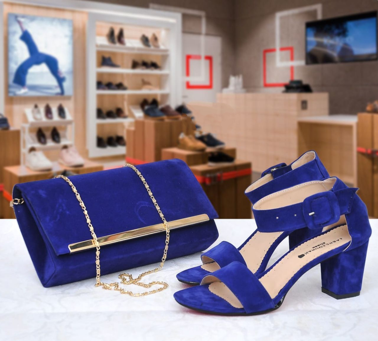 Set sac/sandale élégance, Bleu, 37