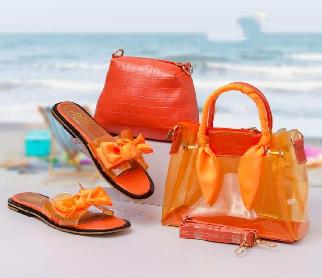 Ensemble sac/sandale plages, Rouge, 38