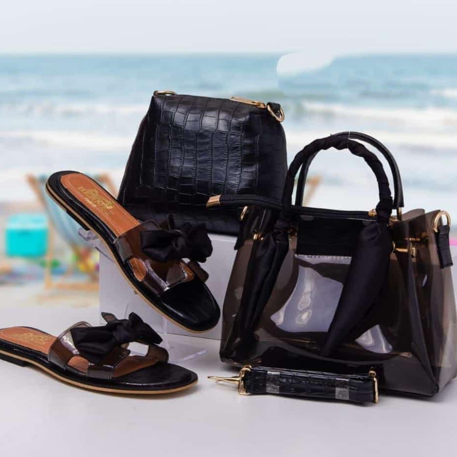 Ensemble sac/sandale plages, Noir, 39