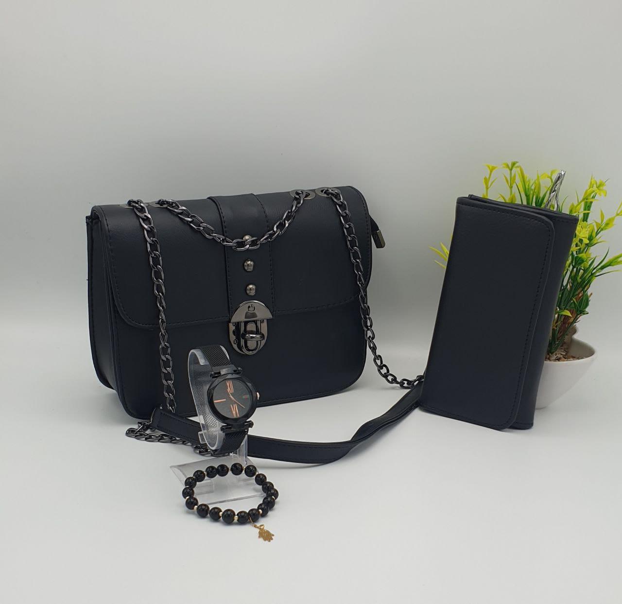 Coffret Sac 4 pieces princesse, Noir, sac bracelet porte feuille montre