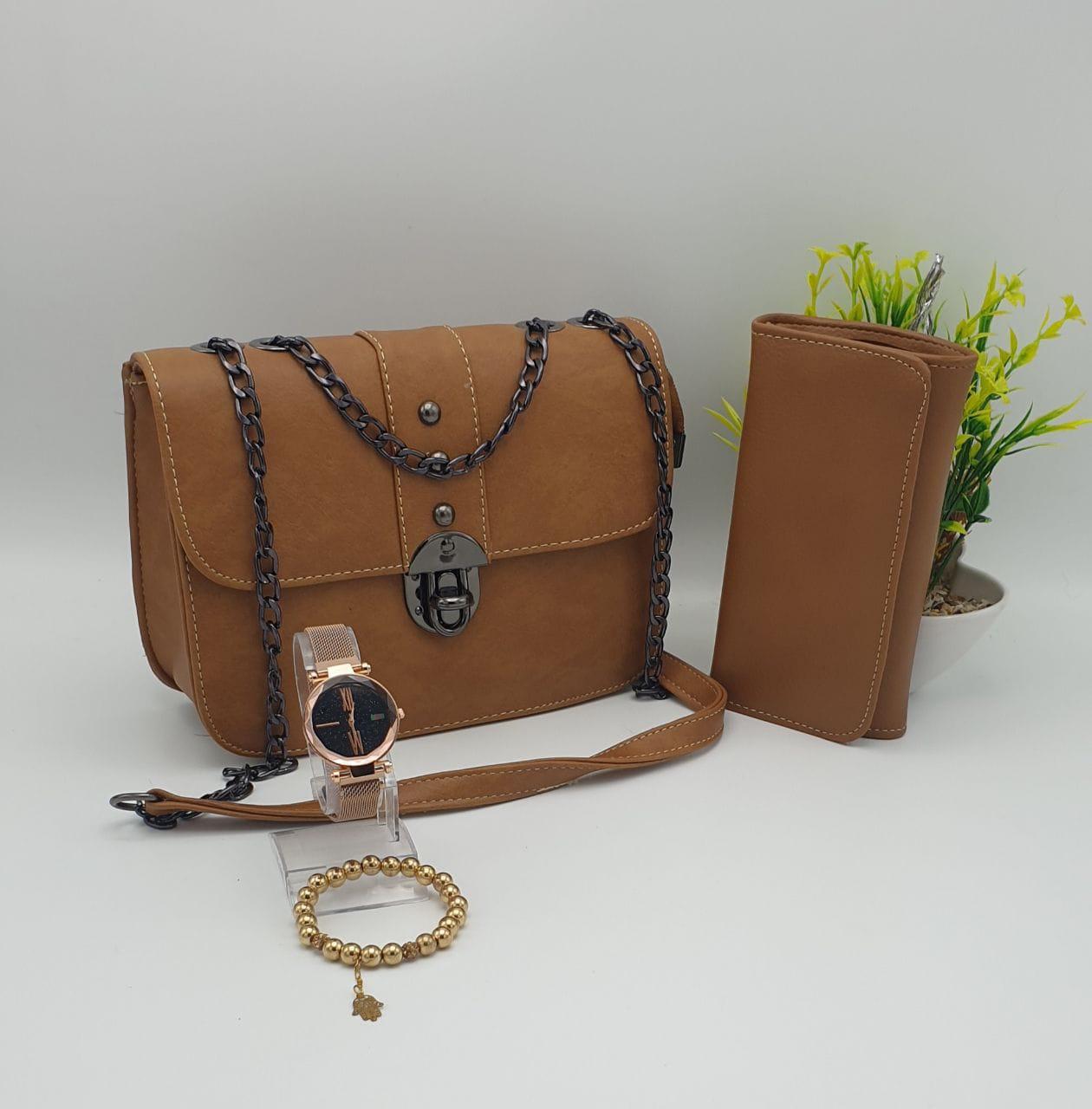 Coffret Sac 4 pieces princesse, Marron, sac bracelet porte feuille montre