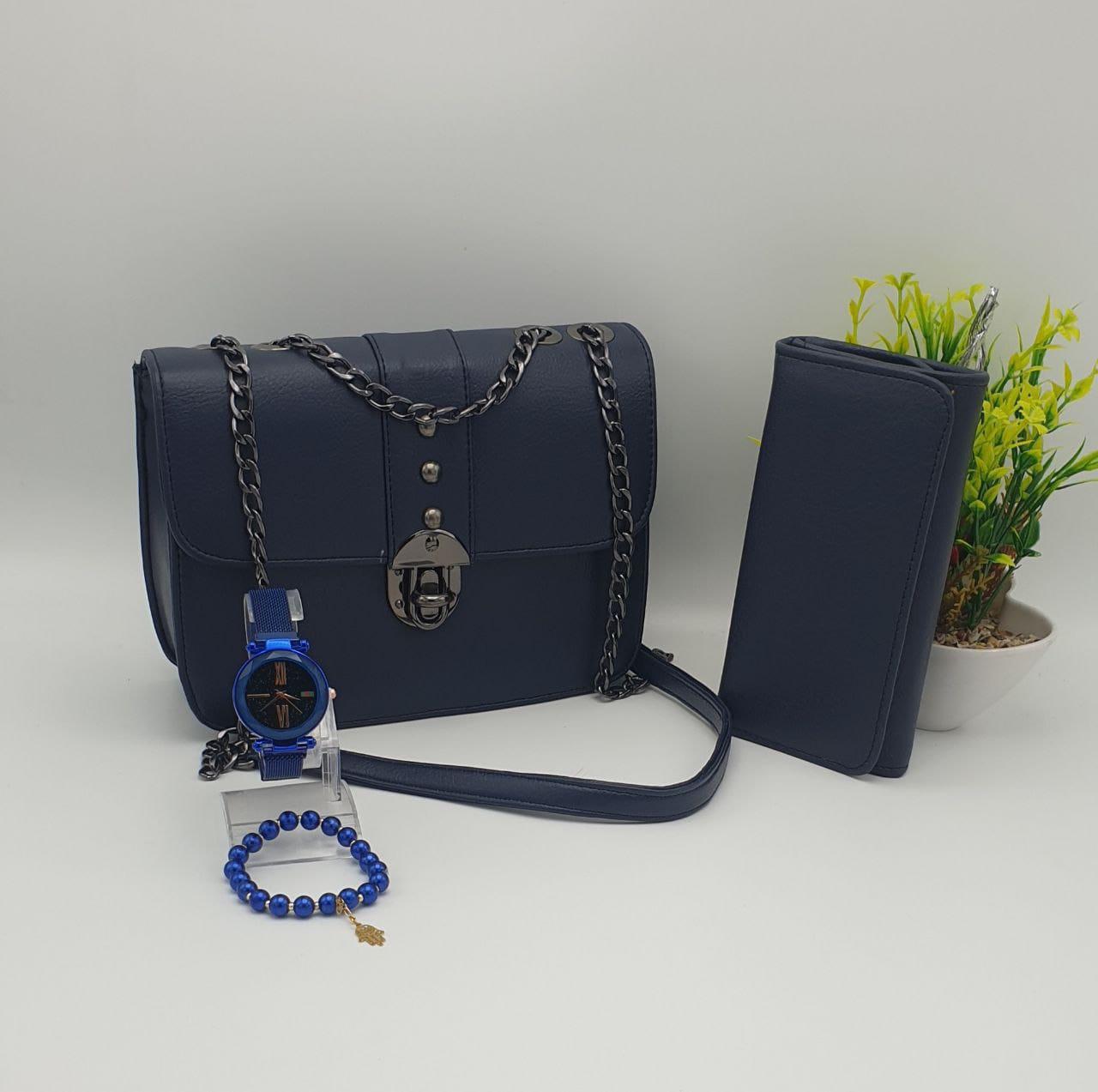Coffret Sac 4 pieces princesse, Bleu, sac bracelet porte feuille montre