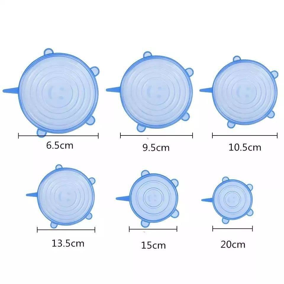 6 pièces Silicone réutilisable étanche à l'air emballage alimentaire, Blanc