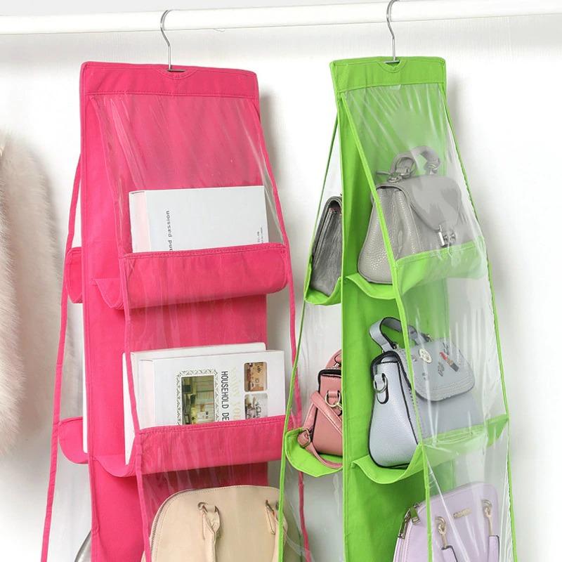 Sac suspendu à 6 poches | Sac à étagère pliable 3 couches, sac à main, organisateur de sac à main, sac à cintre de poche divers, cintre de rangement de placard