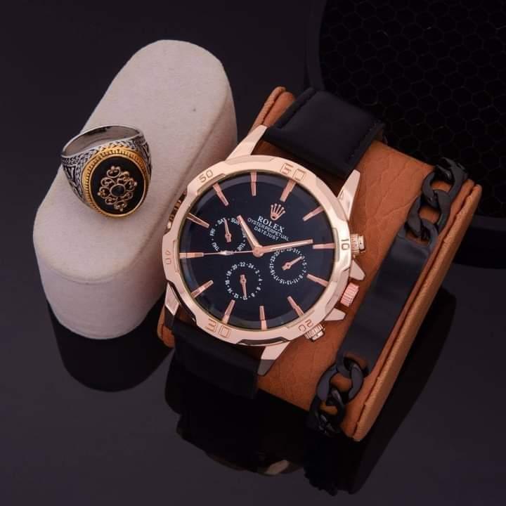 Pack montre Bracelet et bague Homme