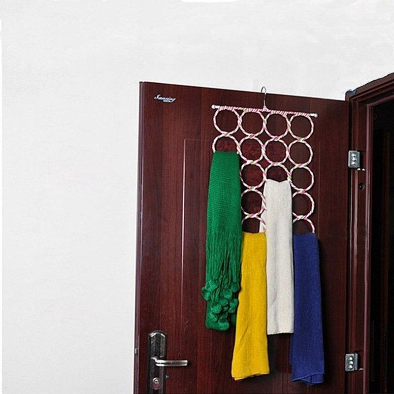 HOMETREE-porte-écharpe en rotin 16 trous