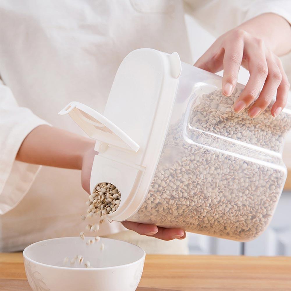 Récipient de cuisine alimentaire en plastique scellé bac à légumes Grains réservoir de stockage cuisine tri riz boîte de stockage conteneur pots, Blanc, 2500ml