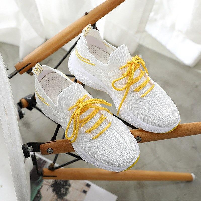Mode femmes baskets 2020 été chaussure femme Harajuku anti-dérapant, Jaune, 37