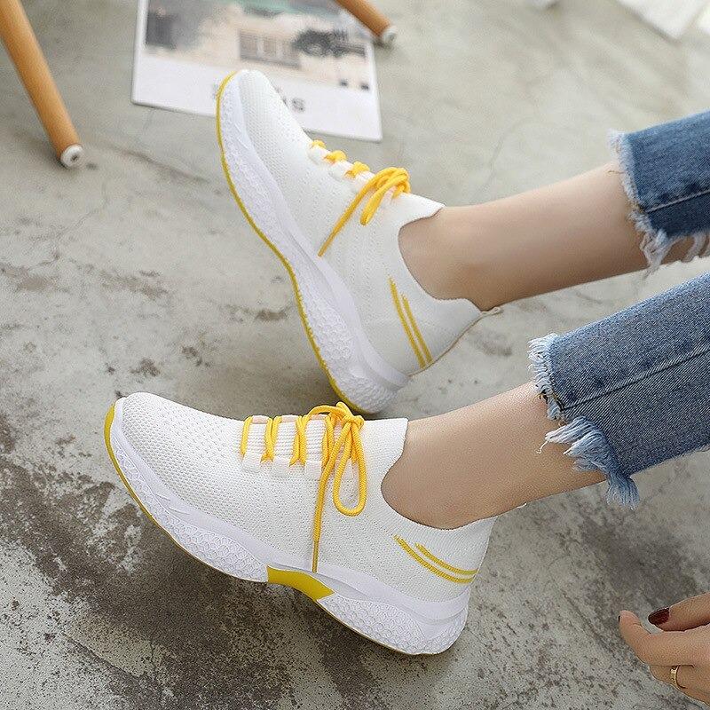Mode femmes baskets 2020 été chaussure femme Harajuku anti-dérapant, Jaune, 39