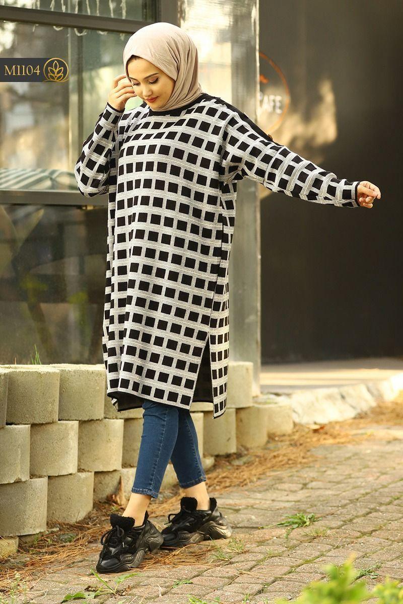 Tricot longue femme carreaux, Noir, Standard