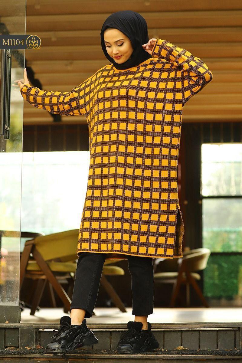 Tricot longue femme carreaux, Moutarde, Standard