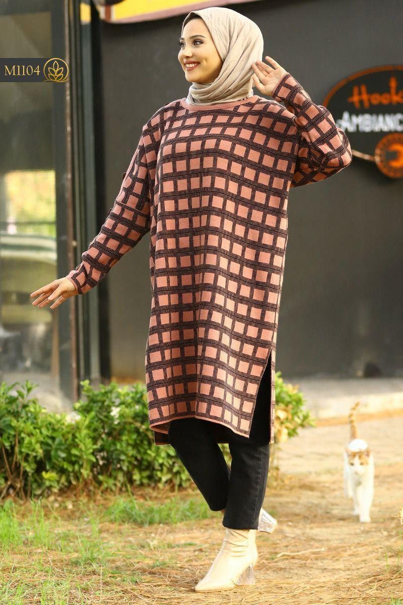 Tricot longue femme carreaux, Rose, Standard