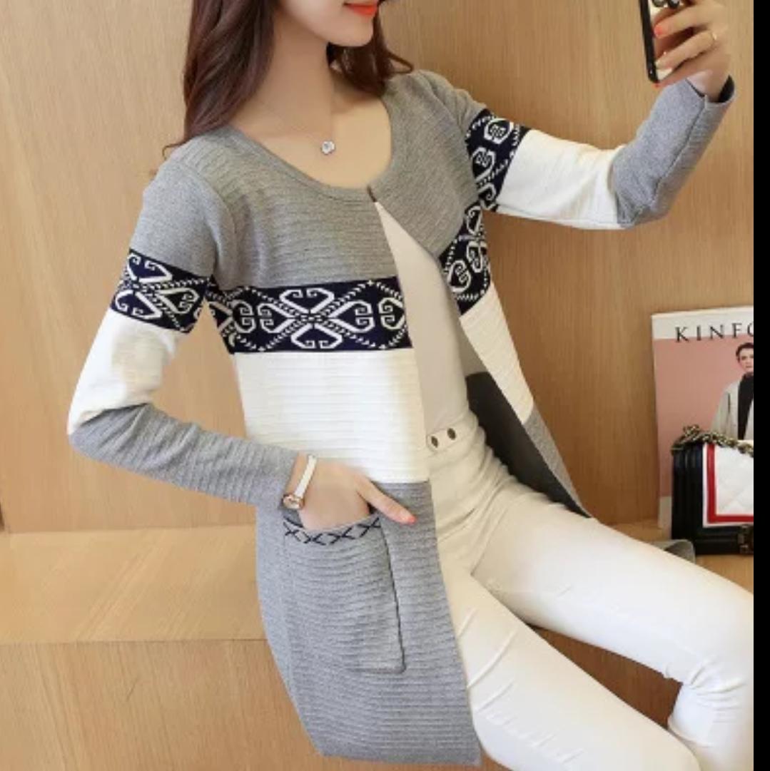 Long tricot slim, Gris, Standard