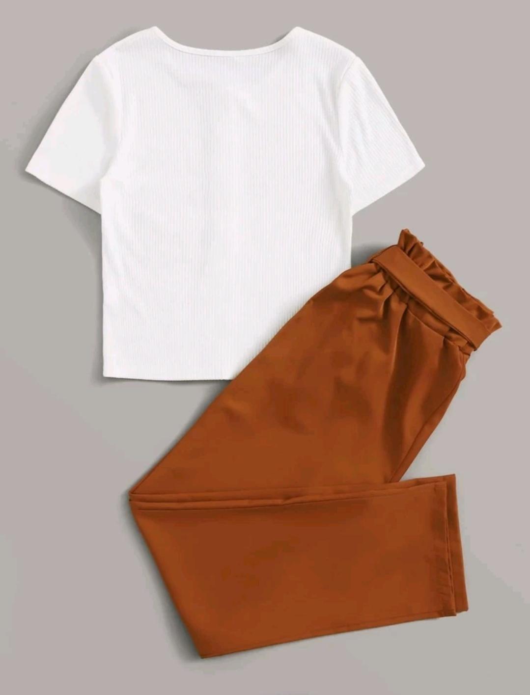 Ensemble pantalon ceinturé et T-shirt avec boutons, Blanc, M