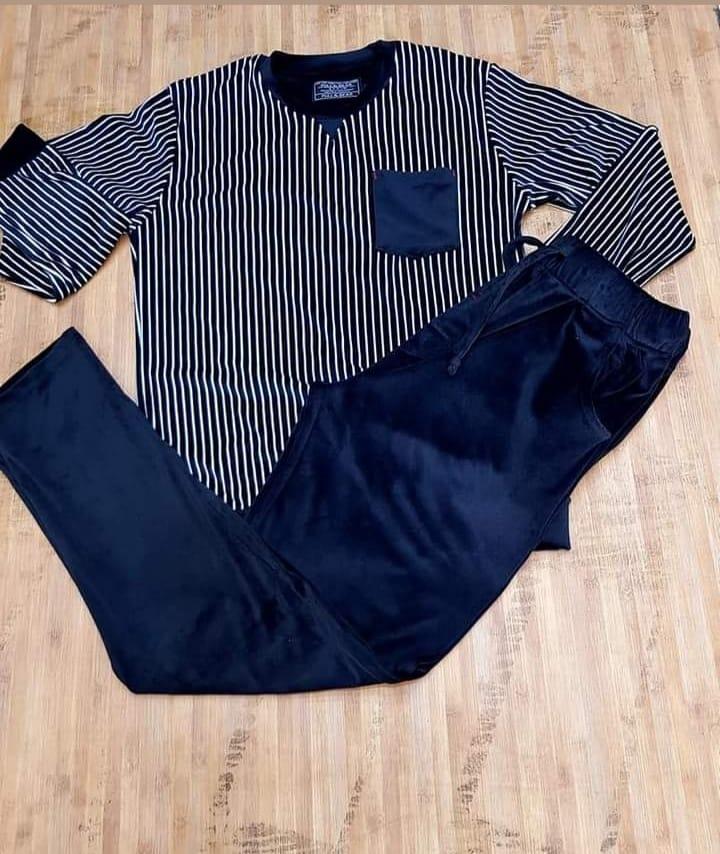 Pyjama Homme en velour, Bleu Marine, M