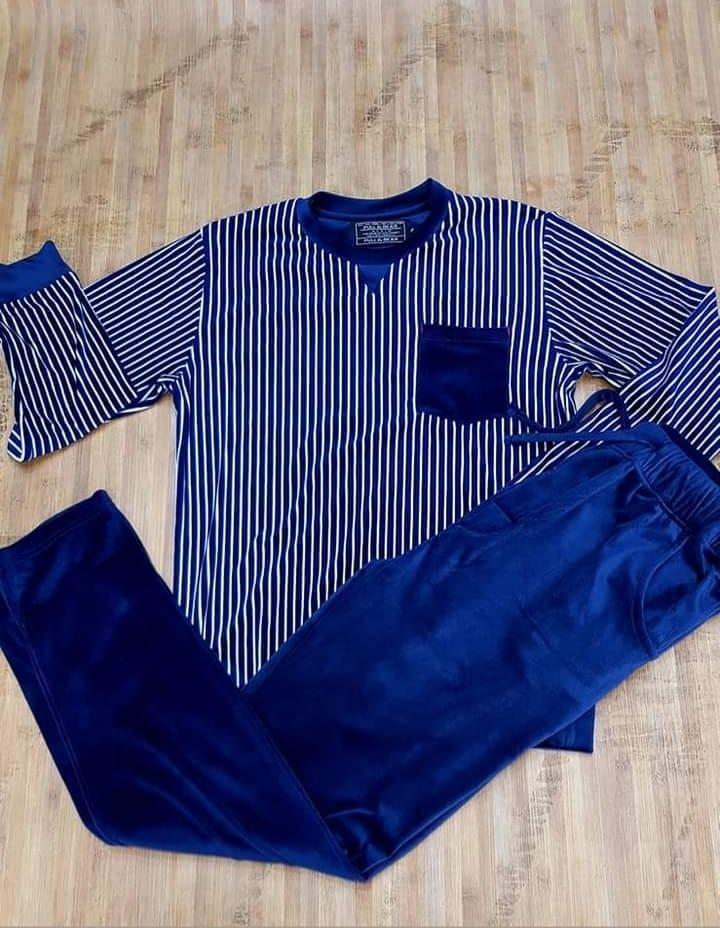 Pyjama Homme en velour, Bleu, L